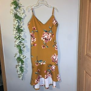 Gold brown floral high low dress L charity…